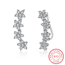 925 Sterlig Silver Flower Shape Zircon Earring Plant Design Jewelry