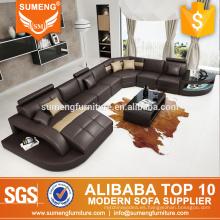 SUMENG 2015 Alemania moderno sofá de cuero esquina para sala de estar