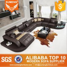 SUMENG 2015 Alemanha moderno sofá de canto de couro para sala de estar