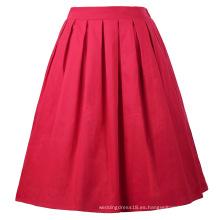 Grace Karin Mujer retro vintage plisado rojo verano falda de algodón 7 patrones CL010401-7