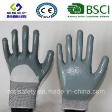 13Г полиэстер оболочки, для которых припасены 3/4 Нитрил покрытием рабочие перчатки (сл-с n116)