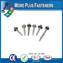 "Taiwan 1/4""-14 x 1"" Hex Unslotted Hex Washer Head Epoxy #3 410 Stainless Steel Bonded Sealing Washer Self-Drilling Screw"