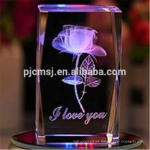 2015 Cube 3D Laser Crystal Block of Rose para logotipo grabado Regalos y recuerdos