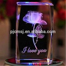 2015 Cube 3D Laser Crystal Block of Rose for Engraving Logo Gifts & souvenirs