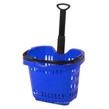 Grocery Plastic Shopping Basket with Two Wheels Yd-B13