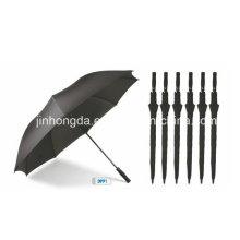 Schwarzer Stoff-Auto-offener Golf-gerader Regenschirm (YSGO0003)