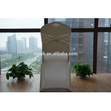 Gold patterns lycra chair band with buckle for banquet
