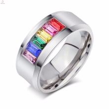 Bunte Kristallschmuck Gay Pride Hochzeit Edelstahl Ringe für Frauen