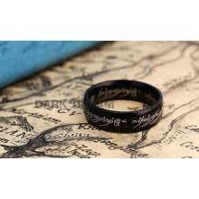 Edelstahl Mode Ring Retro Schwarz Farbe 16-18 Größe