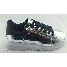 Moda casual zapatos de skate para las mujeres con espejo PU