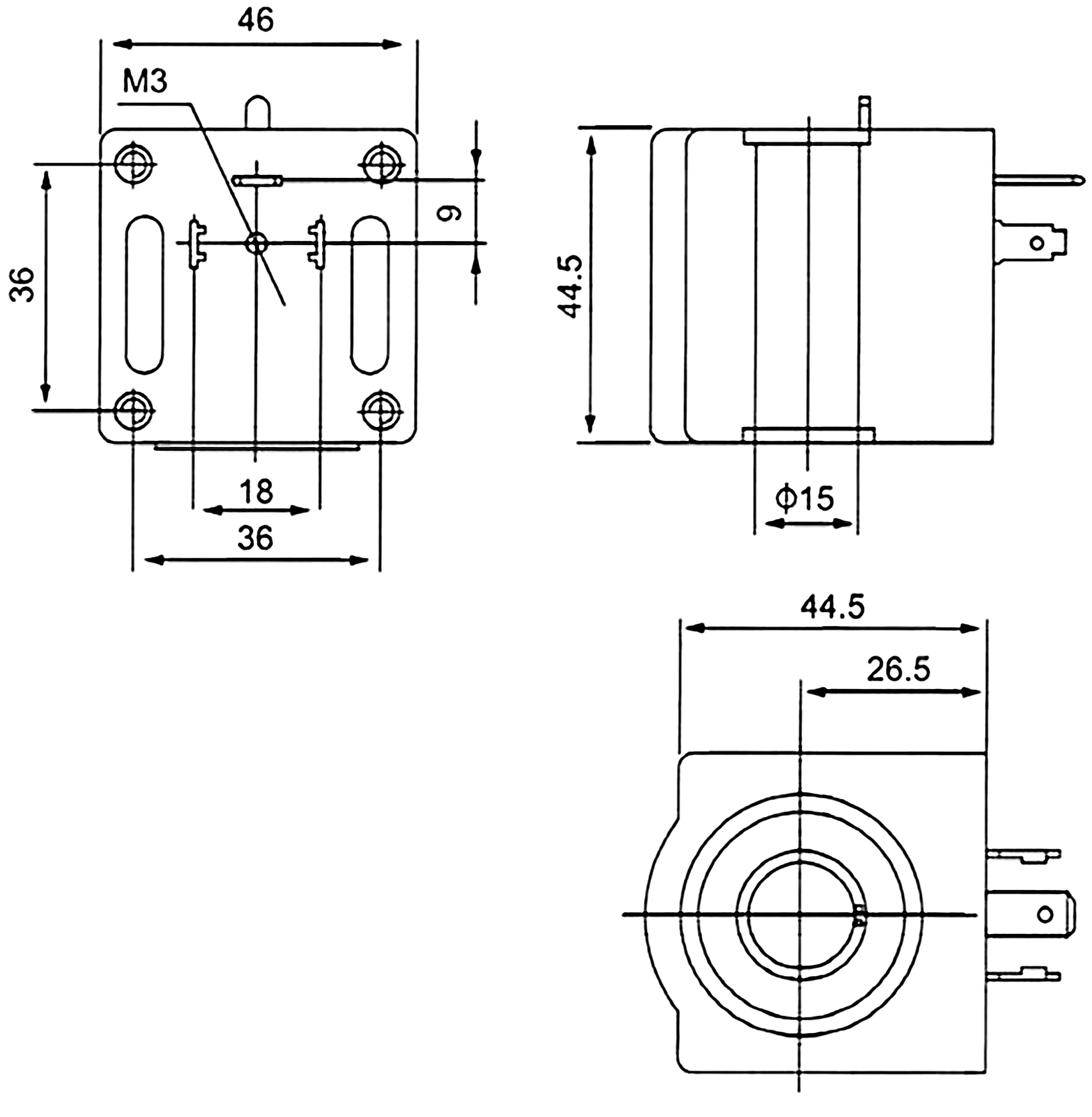 Dimension of BB15045010 Solenoid Coil: