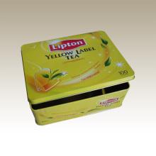 Caixa Retangular de Lata de Chá - Eg. Caixa de lata de chá Lipton