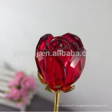 Fabriqué en Chine de qualité supérieure fleur rose cristal rouge