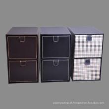 Caixas de armazenamento de couro de couro de alta qualidade com 2 gavetas de takeouts