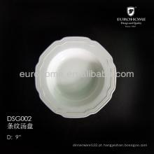 DSG002 placa de massa de porcelana, placa de porcelana redonda profunda, placa de sopa de porcelana branca para o restaurante