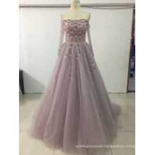 off Slouder Beading Long Sleeve Purple Prom Gowns Evening Dress