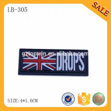 LB305 Fashion design press logo rubber tags and labels for hat