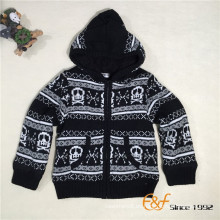Patrón de cráneo de invierno para niños Cárdigan de cremallera de capa doble Keep Warm Sweater con capucha