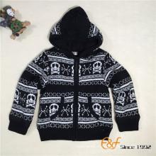 Мальчики зимний узор череп двойной слой держать теплый свитер молния кардиган с капюшоном