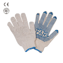 safety work pvc dotted white cotton glove