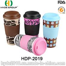Taza de café plástica surtida de la pared doble del diseño con la manga (HDP-2019)