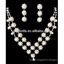 Venta al por mayor joyería nupcial de la boda fija joyería nupcial collar pendiente joyas de imitación