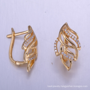 China unique jewelry findings cubic zirconia earrings with gold plated