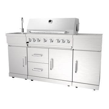 Barbecue à gaz à six brûleurs avec brûleur arrière