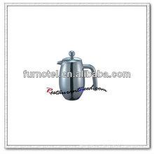 T160 bote de té de cuerpo convexo de doble capa de acero inoxidable