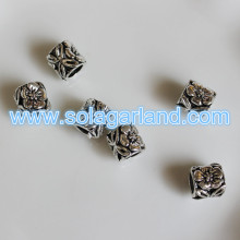 8.5*9MM Big Hole Tibetan Silver Carving Tube Loose Spacer Bead Charms