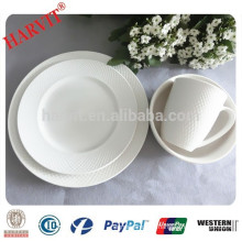2015 New design 16pcs Embossed Stoneware Dinner Set