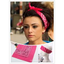 Customized Color Paisley Algodão Cow Girl Headwrap Scarf Headband