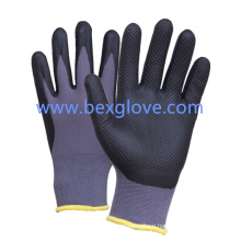 15 Gauge Nylon Liner, Nitrile Coating, Micro-Foam Finish, Pressure Pattern Safety Gloves