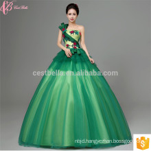 2017 New Design One Shoulder Green floral prom maxi long married wedding dress
