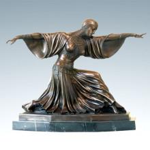 Danse Bronze Sculpture Thaïlande Lady Deco Statue en laiton TPE-174