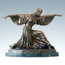 Танцовщица Бронзовая скульптура Таиланд Леди Деку Статуя из латуни TPE-174