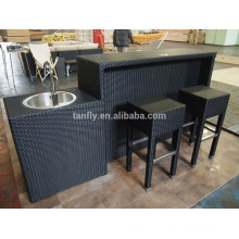 Outdoor rattan furniture bar stools and table set bar settings