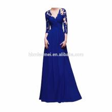 Europa y América nuevo diseño atado vestido de noche largo mano con cuentas gasa vintage largo seelve vestido de noche rojo