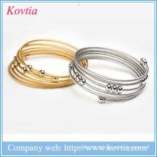 2015 Hallowmas 5 pulseiras camada de mulheres pulseira de aço de titânio bracelete