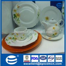 2015 nouveaux produits vaisselle en porcelaine allemande populaire avec décoration de fleurs jaunes