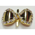 Simple Gold Bowknot Rhinestone Buckle