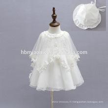 Infantile bébé filles mascarade parti porter robes bambin robe de soirée avec tulle blanc bouffée cappa