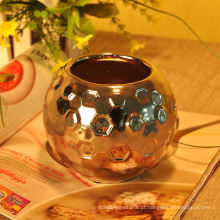 Recipiente de vela de cerâmica martelado galvanizado prata