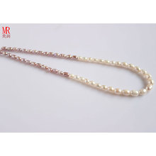 5-6-7mm gemischte Farbe Reis Süßwasser Perle Halskette (ES129-3)