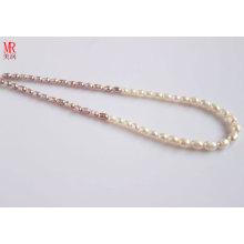 Collier de perles d'eau douce à base de riz mélangé 5-6-7mm (ES129-3)