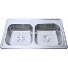 Topmounted Stainless steel double bowl vanity sink home depot