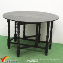 Mesa de comedor plegable de madera redonda de múltiples funciones