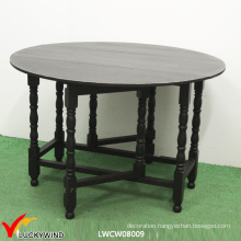 Multi Function Black Wood Round Folding Dining Table