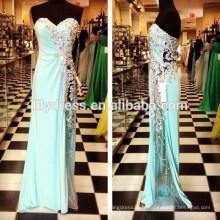 Longueur de plancher Bleu ciel Bleu chérie Perles de cristal Custom Made Long Evening Party Wear ED145 Real Sample Nouvelle robe de soirée