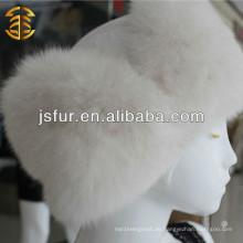 Neues Produkt Weiß Großhandel Winter Pelz stricken Frauen Hut